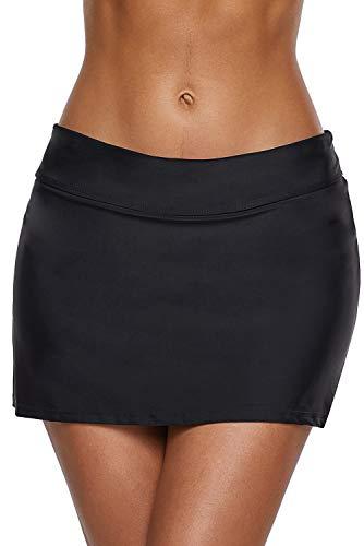 RUIHCHUANGS Femme Shorts de Bain Jupe de Maillot de Bain, Femme Bas de Maillot Shorty Jupette Jupe de Natation Maillot de Bain Couleur uni