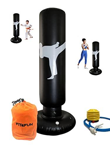 FIT4FUN Saco de boxeo inflable para niños – Saco de boxeo hinchable, divertido juego con este saco de boxeo para niños con bomba y bolsa de ajuste, para boxeo