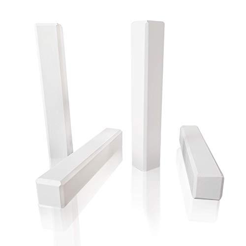 Universal Eckstab weiß lackiert 4er-Pack • Höhe 125 mm • Buche Massivholz • Zuschneidbar • Passend zu allen weißen Sockelleisten • Eckblock • Eckturm • Echtholz-Ecken • Hamburger/Berliner Profil