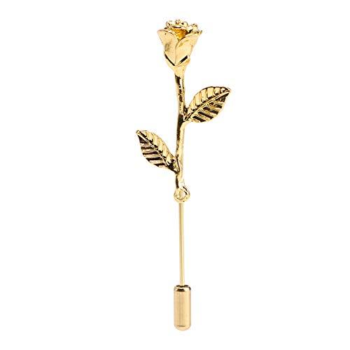 Soleebee Metall Ansteckblumen Herren Revers Pin Blume Set im Knopfloch Schläger Revers Krawatte Brosche Boutonniere für Anzug (Mini Rose)