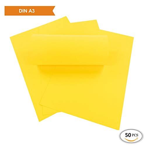 ZADAWERK® Tonkarton - 230 g - A3 - Gelb - 50 Stück
