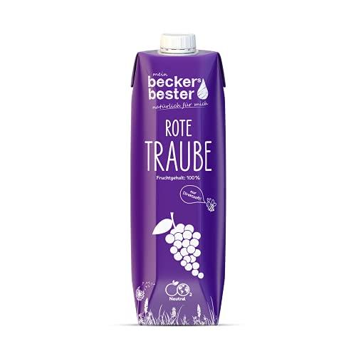 beckers bester Rote Traube - 6er Pack - Traubensaft - 100% natürlicher Direktsaft - Co2-neutral hergestellt - Vegan - Ohne Zuckerzusatz - Ohne Gentechnik - Laktosefrei - (6 x 1000 ml)