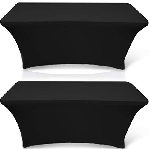 Wealuxe 6-feet Rectangle Tablecloth - Spandex Stretchable Table Cloth Cover, Black, 2 Pack