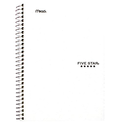 """Five Star Spiral Notebook, 2 Subject, College Ruled Paper, 100 sheets, 9-1/2"""" x 6"""", White (72450)"""