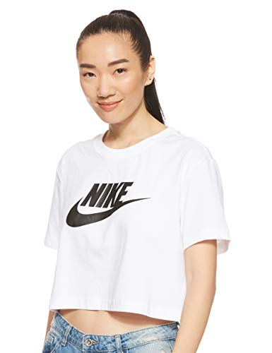 Nike Damen Sportswear Essential Icon Crop T-Shirt, White/Black, M, BV6175