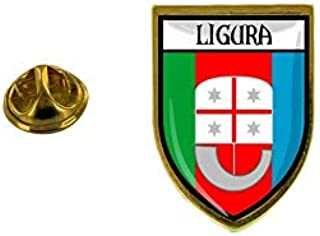 Akachafactory - Spilla con spilla, motivo: bandiera del Paese Blason Italia Liguria