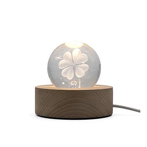 ZZYJYALG trébol de Cuatro Hojas Dormitorio de la luz de la luz de la luz de la Noche de la Bola de Cristal 3D for niños Luz cálida Luz de la Noche Regalos for niños con el Interrupt