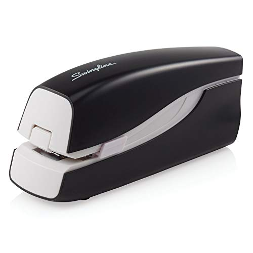 Swingline Electric Stapler, Compact, Full Strip, 20 Sheet Capacity, AC Adapter or Battery Powered, Portable, Black (48200)