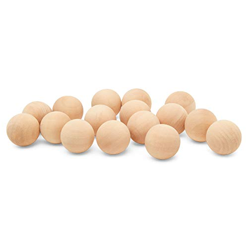 1 inch Wooden Round Ball, Bag of 50 Unfinished Natural Round Hardwood Balls, Smooth Birch Balls, for Crafts and DIY Projects (1 inch Diameter) by Woodpeckers