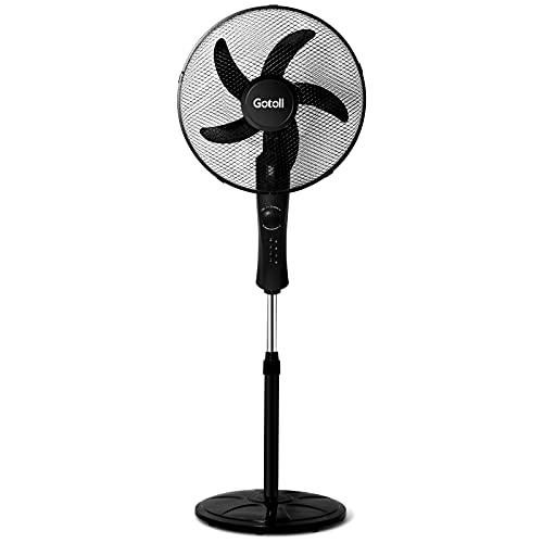 Gotoll Ventilatore a Piantana 45W,Diametro 43 cm,Altezza 110-125 cm Regolabile,5 Pale,3 Velocità,70° Oscillazione