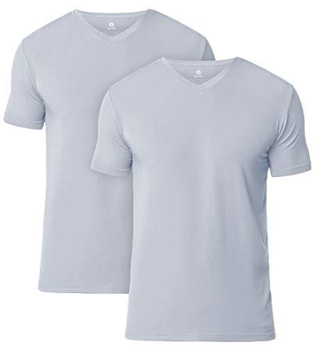LAPASA 2er Pack Herren T-Shirts - SUPER WEICHES Micromodal - Business Kurzarm Unterhemd mit Rundhalsausschnitt/V-Ausschnitt Für Männer M07 & M08 MEHRWEG (L, V-Ausschnitt: Hellgrau)