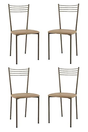 Tommychairs - Set 4 sedie modello Elena per cucina bar e sala da pranzo, struttura in acciaio verniciata colore cappuccino e seduta imbottita e rivestita in pelle artificiale colore cappuccino