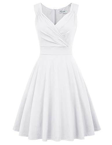 GRACE KARIN Vintage Dress V-Neck A-line Bridesmaids Dress Size L White CL698-7