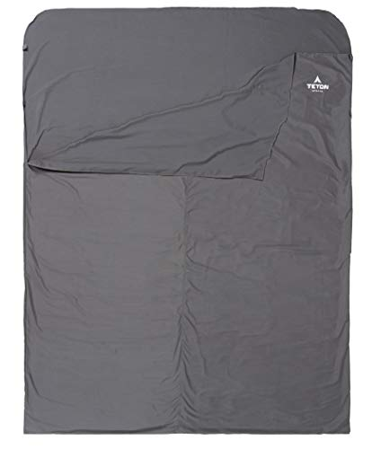"""TETON Sports Mammoth Cotton Sleeping Bag Liner; A Clean Sheet Set Anywhere You Go; Perfect for Travel, Camping, and Anytime You're Away from Home Overnight; Machine Washable , Black, 91"""" x 58"""""""