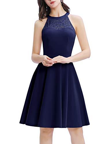 Bbonlinedress Damen Cocktailkleid Elegant Kleid Abendkleider Rockabilly Kleid Retro Vintage Neckholder Kleider Brautkleid Navy L