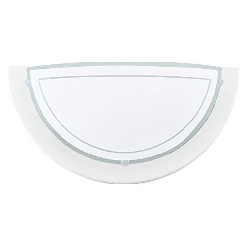 EGLO Wandlampe Planet 1, 1 flammige Wandleuchte modern, Wandbeleuchtung für Innen aus Metall und Glas, Wohnzimmerlampe in Weiß, Flurlampe halbrund mit E27 Fassung