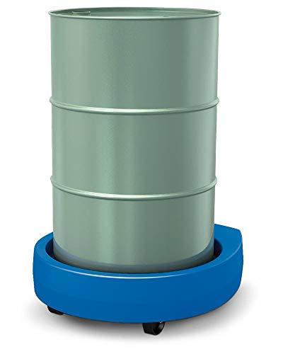 DENIOS Fassroller Poly100 E aus Kunststoff, blau, für 200 Liter Fässer, Traglast 300 kg, zum sicheren Transport schwerer Lasten, 2 Lenkrollen, 2 Bockrollen, integrierte Tropfwanne