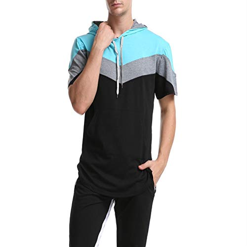 Amazon - Maglione da uomo con cappuccio, stile sportivo, a maniche corte