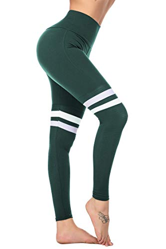COOrun Leggings for Women High Waist Yoga Pants Workout Fitness Womens Colorful Leggings Army Green S