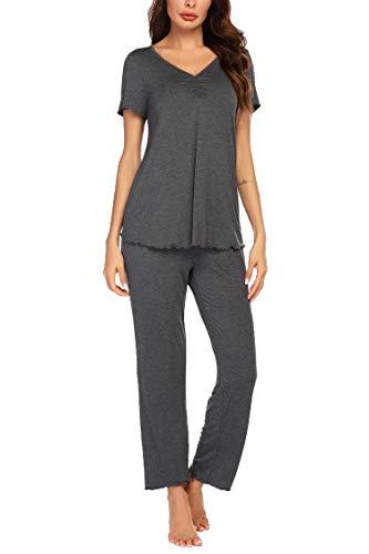 MAXMODA Conjunto de pijama para mujer, de manga larga y manga corta, dos piezas, pantalones largos y tops suaves, conjuntos de tallas S-XXL De manga corta gris oscuro. M