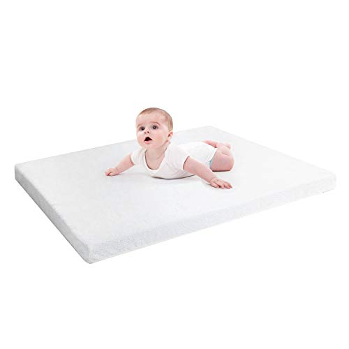 "RUUF Crib Mattress Topper, Premium Gel-Infused Memory Foam Crib Mattress Pad with Removable 100% Waterproof Cotton Cover, 52"" x 27"" x 2"""