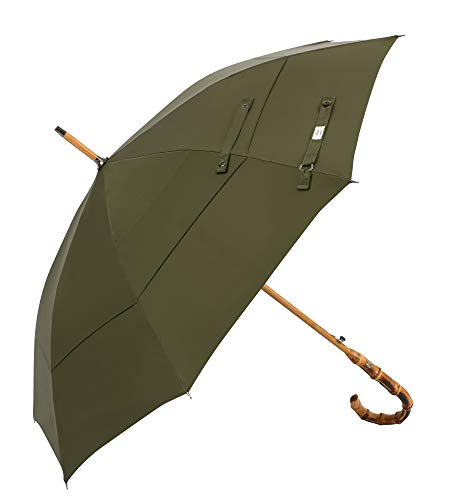 UK Designed—Balios Prestige Walking Stick Umbrella—Bamboo Handle—Double Canopy (Olive Green)