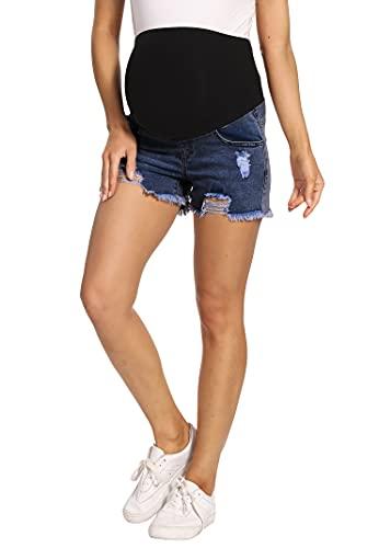 Kegiani Pantalones cortos de premamá para mujer, pantalones vaqueros cortos de maternidad, pantalones cortos con banda para el vientre para verano, 01#azul oscuro, S