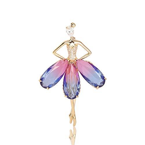 GUOYXUAN Sieraden broche Glanzende zirkonia poeder paarse rok koperen fittingen voor vrouwen en meisjes pak pin accessoires 5.7 * 3.6cm