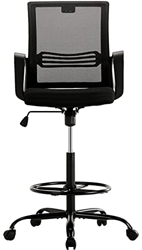 Drafting Chair Standing Desk Chair - Tall Adjustable Office Chair with Armrest Office Stool Counter Height Mesh Chair with Foot Ring - Black
