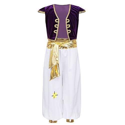 IEFIEL Disfraz Traje de Princípe Árabe para Niño Chaleco Terciopelo Pantalones Cintura Dorada Disfraces Halloween Navidad Carnaval Cosplay Morado 10 años