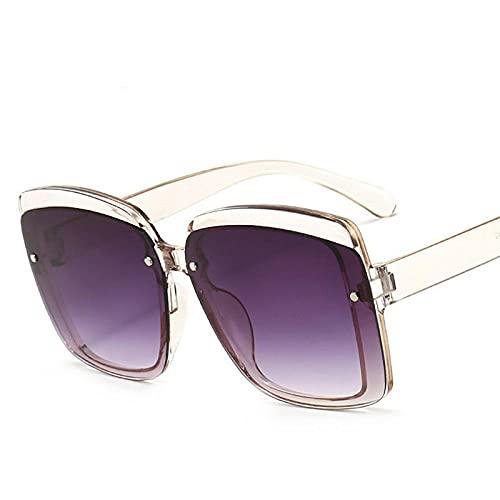DLSM Gafas de Sol Femeninas de la Vendimia Gafas de Sol de Gran tamaño Moda Gafas cuadradas Adecuadas para la Playa Golf Trekking Gafas-Gris Claro