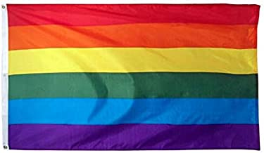 Jasper Merchandise Rainbow Pride Gay Flag 3x5 Feet (36 x 60 Inches) 100% Polyester With Two Metal Grommets Flagpole LGBT