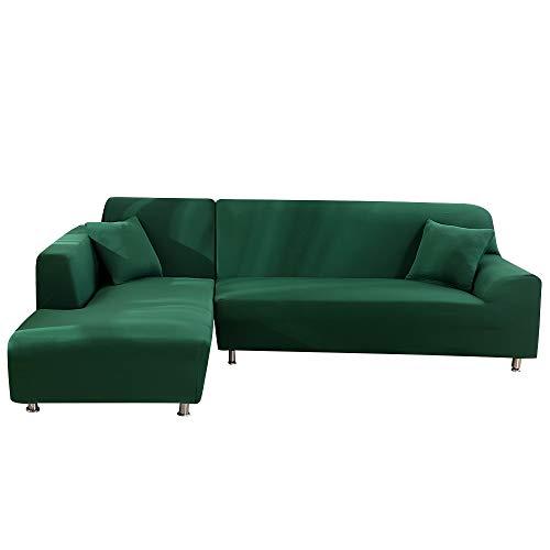 Fundas Sofá Elasticas Chaise Longue,Moderna Cubre Sofa Chaise Longue Brazo Izquierdo,Extraíbles y Lavables,Fundas Protector para Sofá en Forma de L 2 Piezas(Color Sólido Verde,2 Plazas+2 Plazas)