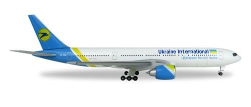 "Herpa- Vehículo 531122"" Ukraine International Airlines Boeing 777-200-UR-GOA"
