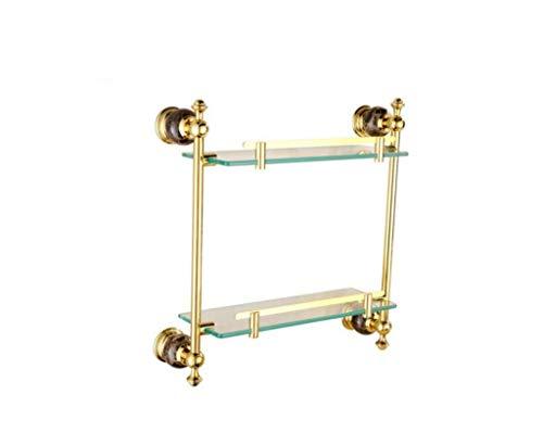 douche kamer marmer goud dubbele plank badkamer badkamer glas dressoir muur montage hardware hanger badkamer opslag rack glas afwerking standaard, BGJ
