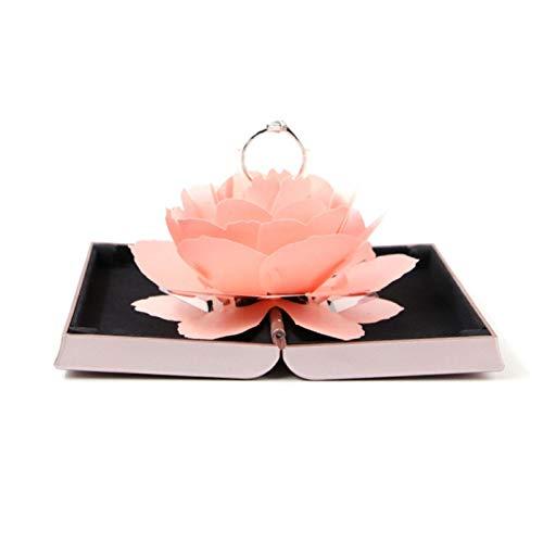 huichang Blüte Rose Ringschachtel Schmuckkästen für Ring Halskette Anhänger (Pink)