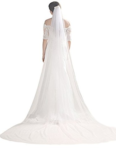 Yean Wedding Veil and Headpieces Bridal Cathedral Veil Chapel Veil with Comb (118 inches, One Tiers Veil) (White)