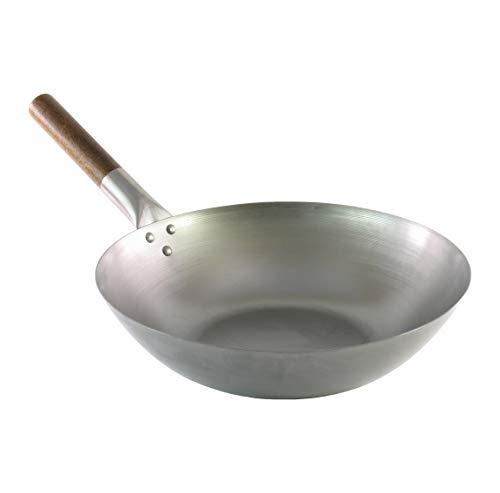 Wok tradicional de acero al carbono - Calidad profesional - Fondo plano - Mango de madera - Ø 30 cm