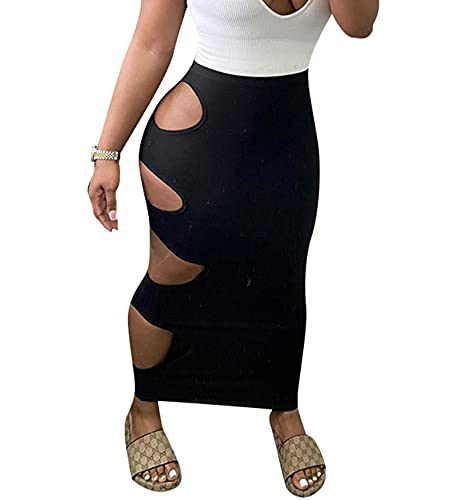 ZhaZhaMeng Las mujeres Faldas Largas Y2k Sexy Bodycon Vestido Lateral Corte Color Sólido Hueco Alto Elástico Verano Una Línea De Falda Clubwear