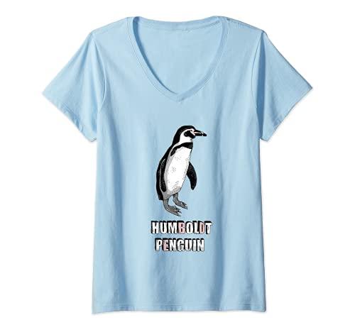 Donna pinguino di Humboldt Maglietta con Collo a V