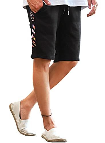 ラグスタイル ショートパンツ メンズ ハーフ ロゴ イージー スウェット サイドライン ブラックM