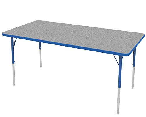 "Marco Group MGc2237-F4-BBLU 30"" x 60"" Rectangular Shaped Adjustable Height Classroom Activity Table (21""- 30"") Gray Nebula-Top, Blue-Edge, Blue Leg"