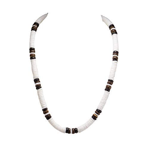 BlueRica Puka Shell Beads and Coconut Beads Necklace (Brown)