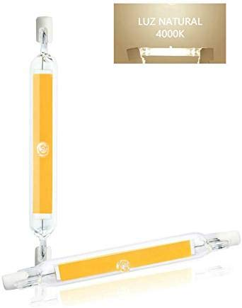 Luxvista 2x R7S 118mm 10W Tubo Lámpara LED COB Bombilla, J118 T3 Luces de Enchufe Horizontal R7S LED, Luz Natural 4000K 1000lm Bombilla Tubular Vintage con Vidrio de alta Transmitancia (Non-Regulable)