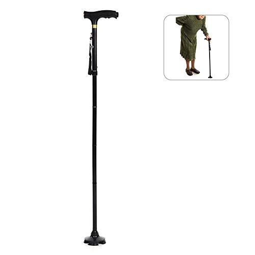 Mejor bastón, aleación de aluminio, bastón multifunción plegable, con barra telescópica de luz LED (sin batería)