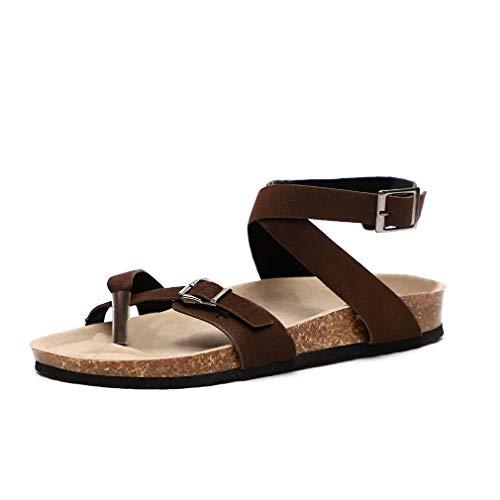 Mujer Sandalias Planas Verano Tobillo Correa Hebilla Zapatillas Plataforma Zapatos Plano Cómodos...