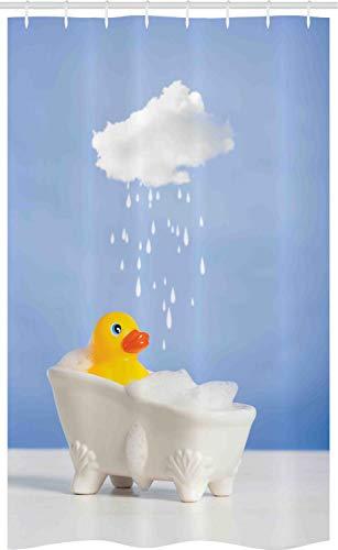 ABAKUHAUS Badeente Schmaler Duschvorhang, Ente Bad nimmt, Badezimmer Deko Set aus Stoff mit Haken, 120 x 180 cm, Blau Weiß