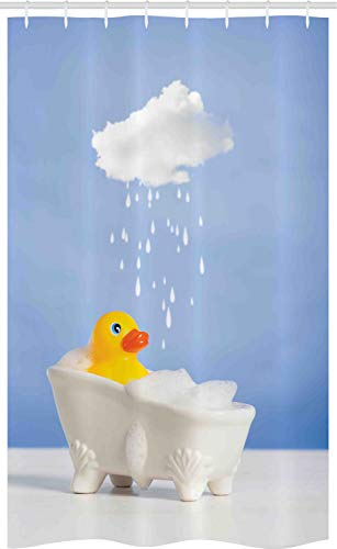 ABAKUHAUS Badeente Schmaler Duschvorhang, Ente, die Bad nimmt, Badezimmer Deko Set aus Stoff mit Haken, 120 x 180 cm, Gelb Weiß Blau