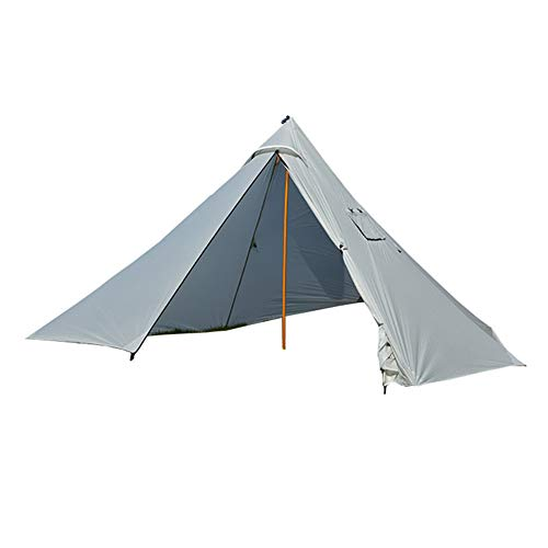 5-6 Person Tent Ultralight 20D Nylon Tipi Hot Tent with Fire Retardant Stove Jack for Flue Pipes with 2 Doors (Grey)