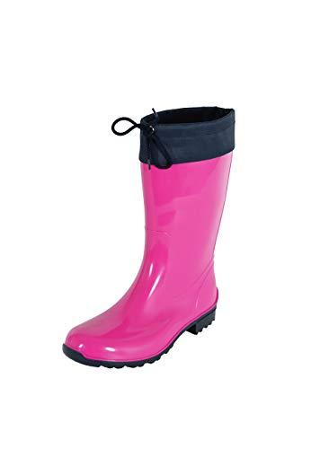 Regenliebe Damen Gummistiefel de Fieselregen Regenstiefel Langschaft, Farbe:Fuchsia/dunkelblau, Größe:41 EU